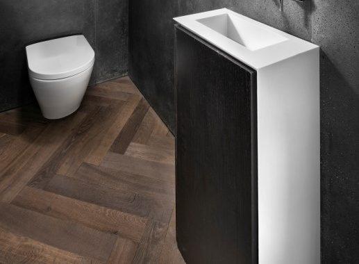 רהיט ארון רחצה קטן עם חיפוי חלקי בקוריאן לבן המשלב כיור ביצור מיוחד על פי תכנון מעצב